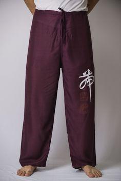 Chinese Writing Men's Thai Yoga Pants in Purple – Harem Pants
