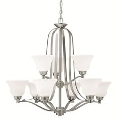 Kichler Lighting Langford Collection 9-light 2-tier Brushed Nickel Chandelier, Silver (Glass)