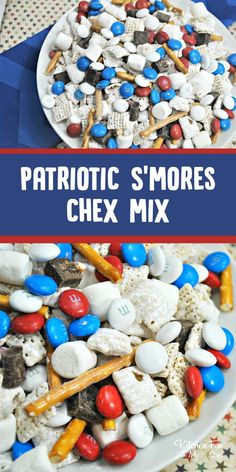 Patriotic S'mores Chex Mix for of July. Perfect red white and blue snack mix… – Gesunde Snacks und Snack-Mix 4th Of July Desserts, Fourth Of July Food, 4th Of July Celebration, 4th Of July Party, July 4th, Patriotic Desserts, Patriotic Crafts, Patriotic Party, Summer Desserts