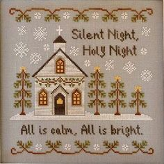 cross stitch pattern  silent night country by thecottageneedle, $8.00