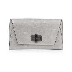 Diane Von Furstenberg 440 Gallery Uptown clutch (905 ILS) ❤ liked on Polyvore featuring bags, handbags, clutches, silver, genuine leather purse, leather handbags, real leather handbags, leather envelope clutch and leather pocket purse