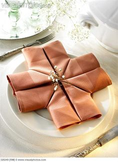 Napkin folding design: 'Crusader' I just think this is so fun and different