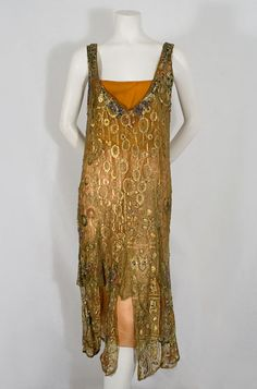 Why not let this absolutely stunning jeweled metallic lace evening ensemble, c.1925, inspire your own Gustav Klimt wedding gown?