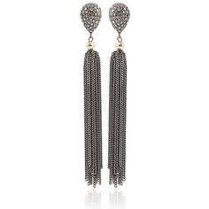Jordan Alexander Silver Tassel Diamond Post Earrings ($1,210) ❤ liked on Polyvore