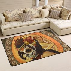 Yochoice Non-slip Area Rugs Home Decor, Vintage Retro Day of the Dead Sugar Skull Floor Mat Living Room Bedroom Carpets Doormats 60 x 39 inches >>> You can find out more details at the link of the image. (This is an affiliate link) #AreaRugsRunnersandPads