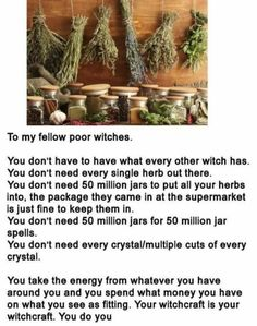 To my fellow poor witches