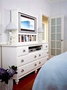 """TV """"built in"""" on dresser...remove the middle drawer"""