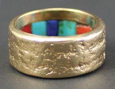 Charles Loloma (1921-1991) Gold Ring with Interior Inlay