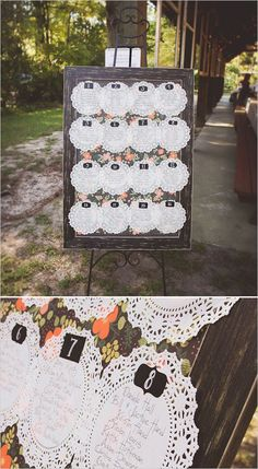 Doily and floral seating chart board for a shabby chic reception. Captured By: Sarah Murray Photography --- http://www.weddingchicks.com/2014/05/13/quirky-budget-friendly-wedding/