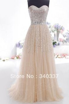 Ship Long  sweetheart a-line champangne Formal prom Dress long with sequined court train - PERFECT!
