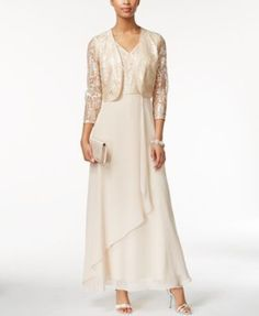 Tahari ASL Jacket Dress Sequin-Lace Gown and Jacket