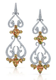 Stephen Webster. Couture Drop Earrings in 18ct White Gold Cascade Earrings set with pave White Diamonds and pear shaped Zultanite stones. Price from £35,000.
