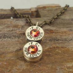 Bullet Jewelry - Bullet Necklace - 9mm - Fire Opal via Etsy