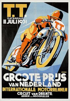 1931 Netherlands Grand Prix poster in original bath. Colors are more muted.