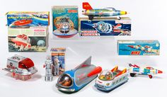 """Lot 573: Tin Space Car and Rocket Assortment; Five items with original boxes including Spacecraft """"Jupiter,"""" Jupiter Rocket, Nike Rocket, Moon Scout and Robot YM-3; together with a Space Bus, a Planet Explorer and a box for Space Rocket"""