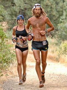 """Ultra marathoners Jenn Shelton [who is described by Chris McDougall in """"Born to Run"""" as being able to qualify for Olypmic marathon team while wearing a string bikini and drinking a beer at mile and Tony Krupicka. I hope to do an ultra someday. Fitness Workouts, Running Workouts, Running Tips, Trail Running, Cardio Workouts, Running Women, Men's Fitness, Running Training, Marathon Training"""