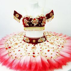 Amazing exclusive creation by Diego Costa. This Odalisque two piece professional tutu is more than amazing! The bra, as well as the belt, have been created with dark burgundy velvet. The decoration on Girls Dance Costumes, Jazz Costumes, Tutu Costumes, Ballet Costumes, Belly Dance Costumes, Dance Outfits, Cute Outfits, Tutu Ballet, Ballet Dance