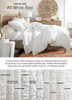 This is gorgeous! All white bedding put together in different textures is my absolute favorite! I love this paring from Pottery Barn! Brown Bed Linen, Neutral Bed Linen, Neutral Bedding, Bedding Master Bedroom, Home Bedroom, Bedroom Decor, Bedroom Ideas, Pottery Barn Bedrooms, White Duvet