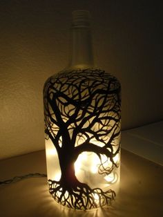 lighted painted bottle by Crafts / Glass / Lights & Prisms Glass Bottle Crafts, Wine Bottle Art, Painted Wine Bottles, Decorated Bottles, Glass Bottles, Altered Bottles, Bottle Lights, Bottle Painting, Jar Crafts