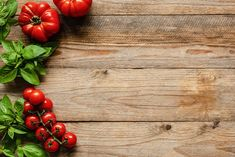Tomatoes and basil on wood background, cooking ingredients. Food background, pizza or picnic background with copy space for text Catalogue Layout, Menu Boards, Food Backgrounds, Cooking Ingredients, Wooden Background, Recipe Cards, Foto Still, Food Photography, Picnic