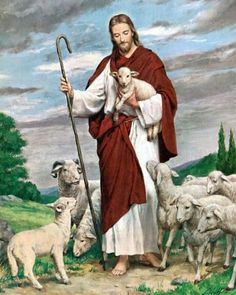 Jesus the Good Shepherd by Alexandre Bida Jesus Shepherd, Christ The Good Shepherd, Jesus Photo, Jesus Is Risen, Première Communion, Pictures Of Jesus Christ, Church Pictures, Christian Artwork, Jesus Painting