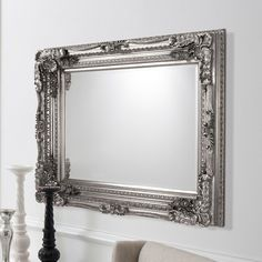 Louisa Rectangular Wall Mirror In Silver With Baroque Style