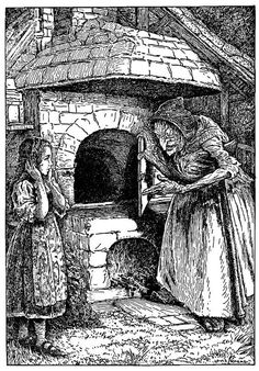 """Creep in,"" said the Witch, ""and see if it is properly hot"" Hansel and Gretel illustration by Louis Rhead. Halloween Illustration, Illustration Art, Ink Illustrations, Brothers Grimm Fairy Tales, Grimm Tales, Scary Mary, Original Fairy Tales, Hansel Y Gretel, Dark Fairytale"