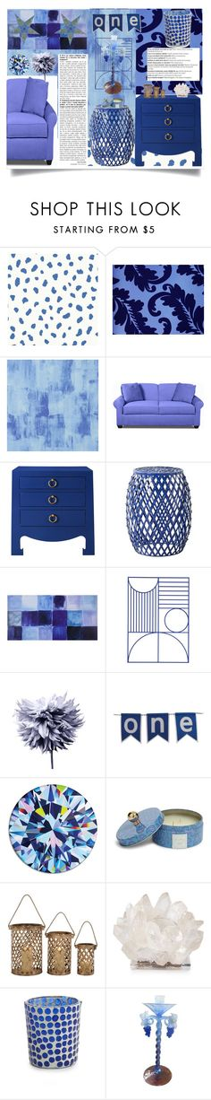 """""""Decorate in Blue"""" by jeneric2015 ❤ liked on Polyvore featuring interior, interiors, interior design, home, home decor, interior decorating, Thibaut, Designers Guild, Safavieh and ferm LIVING"""