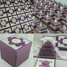 Winter Wondeland Theme. Sweet Sixteen Unique Invitations. Exploding Box Invitations with 3-Tier Cake. Creative Custom Invitations. Pop-Up Invitation. Purple & Silver Theme www.jinkyscrafts.com