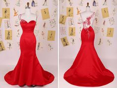 Red Sweetheart Mermaid Evening Gown With Sheer Back