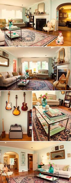 I LOVE the character in this room, the guitars on the wall, the amps stacked, the rug and traditional furniture