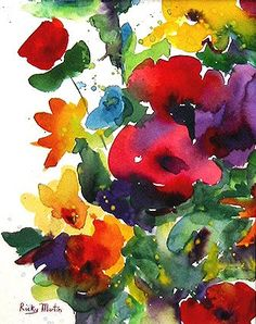 Flower  Bunch, Floral ,Bright Colors, Bouquet - Art Print from my Original Watercolor Painting - FREE SHIPPING  - ebsq Artist Ricky Martin. $15.00, via Etsy.