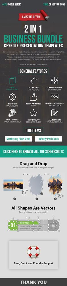 The Items Screenshots: Marketing Pitch Deck Keynote Presentation TemplateInfinity Keynote Business Pitch Deck Attract and impress