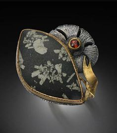 Nadine Kariya: Chinese Writing Stone Ring with Flower, Australian writing stone, spessartite garnet, 8k gold, and 18k gold.