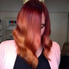 Red to Copper Balayage Ombre Long Bob Hairstyle