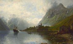 Anders Askevold (1834-1900): Dampbåten anløper Bakka i Nerøyfjorden, 1894