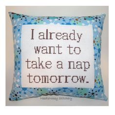 Funny Cross Stitch Pillow, Blue and Brown Pillow, Nap Quote. $23.00, via Etsy.