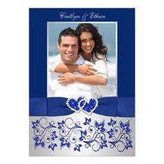 Elegant photo wedding invitation featuring Monogram Blue, Silver Floral