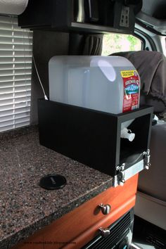 Roadtrek Mods, DIYs, Campgrounds: Removable Countertop 2.5 Gallon Water Container Holder