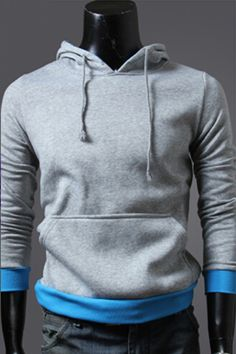 Gray And Blue Spliced Hoodie