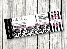Paris Birthday party boarding pass ticket invitation pink and black damask with stripes and Eiffel tower!