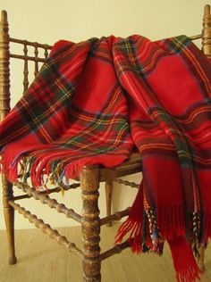 Vintage RED PLAID throw blanket 100  wool by CarliBeardsleyStudio, $25.00