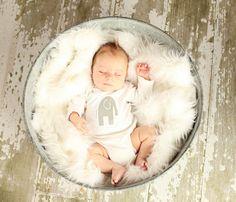 Baby Bodysuit with Grey Elephant applique - Gender Neutral Baby Onesie on Etsy, £8.80