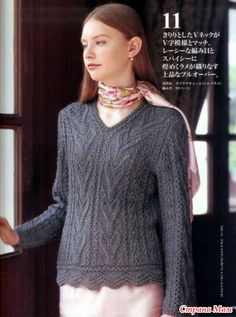 Pullover with a relief pattern.