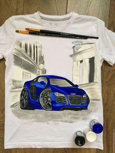 """Купить Детская футболка """"Автомобиль"""" - белый, роспись по ткани, роспись одежды, роспись футболок"""