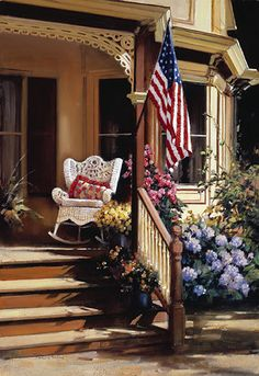 Page - Paul Landry: New Century Series Outdoor Rooms, Outdoor Living, Fresco, Cottage Porch, Vision Art, Summer Porch, Workshop, Cozy Nook, Red White Blue
