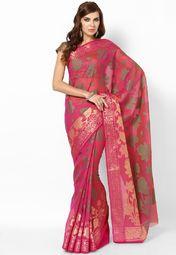 Cotton Blend Magenta Handloom Saree