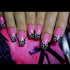 Pink nails with black & white tips