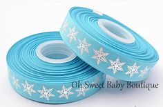 7/8 Foil Snowflake Ribbon by OhSweetBabyBoutique on Etsy, $4.95