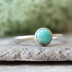 Turquoise Simple silver ring with faceted natural turquoise